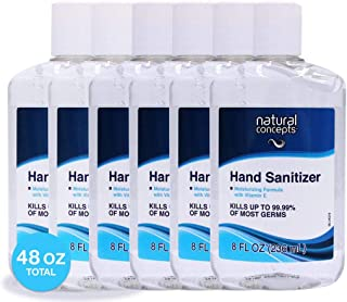 8-oz bottle, 6-Pack, Made in Canada, with Vitamin E, 65% Ethyl Alcohol, Hand Sanitizer Gel by Natural Concepts