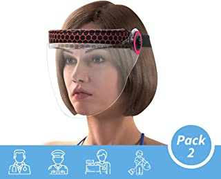 Steelbird IGN-1 7Wings Visor Pack Of 2 Static Hexa Pink Print Women Face Shield Universal Size, Full Face Protector For All Women Front Line Warriors ( Doctors, Nurses, Police, Shopkeepers, Any staff ) (Pack of 2)