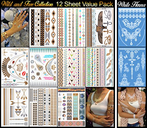 10 Metallic Plus 2 White Henna Tattoo Sheets - 129+ Temporary Flash Tattoos for Woman & Girls in...