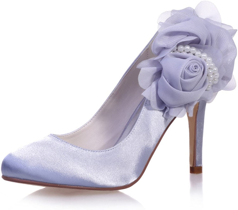 Monie Women's Handmade Lace Floral Stiletto Wedding Dress shoes Round Toe Pumps