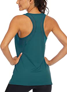 Fihapyli Women's Yoga Tops Open Back Mesh Breathable Workout Tops for Womens Pilates Tops Racerback Running Tank Tops