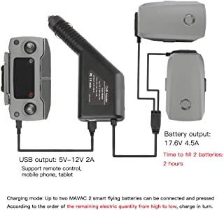 RCstyle Car Charger Compatible with DJI Mavic 2 Pro/Zoom Intelligent Multi Dual Charger Fast Charge 2 Battery and 1 Transmitter