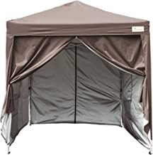 KING BIRD 10x10 ft Easy Pop up Canopy Waterproof Party Tent with 4 Removable Walls Mesh Windows & Carry Bag -Coffee