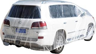 TopSoon Plastic Car Cover SUV Cover with Elastic Band Disposable Car Cover Waterproof All-Weather Extra Large Size 16Ft x ...