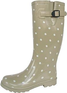 長靴 雨靴 防水 レインシューズ ベルト ドット 水玉 ロング ガーデニング アウトドア 通勤 2色 レディース