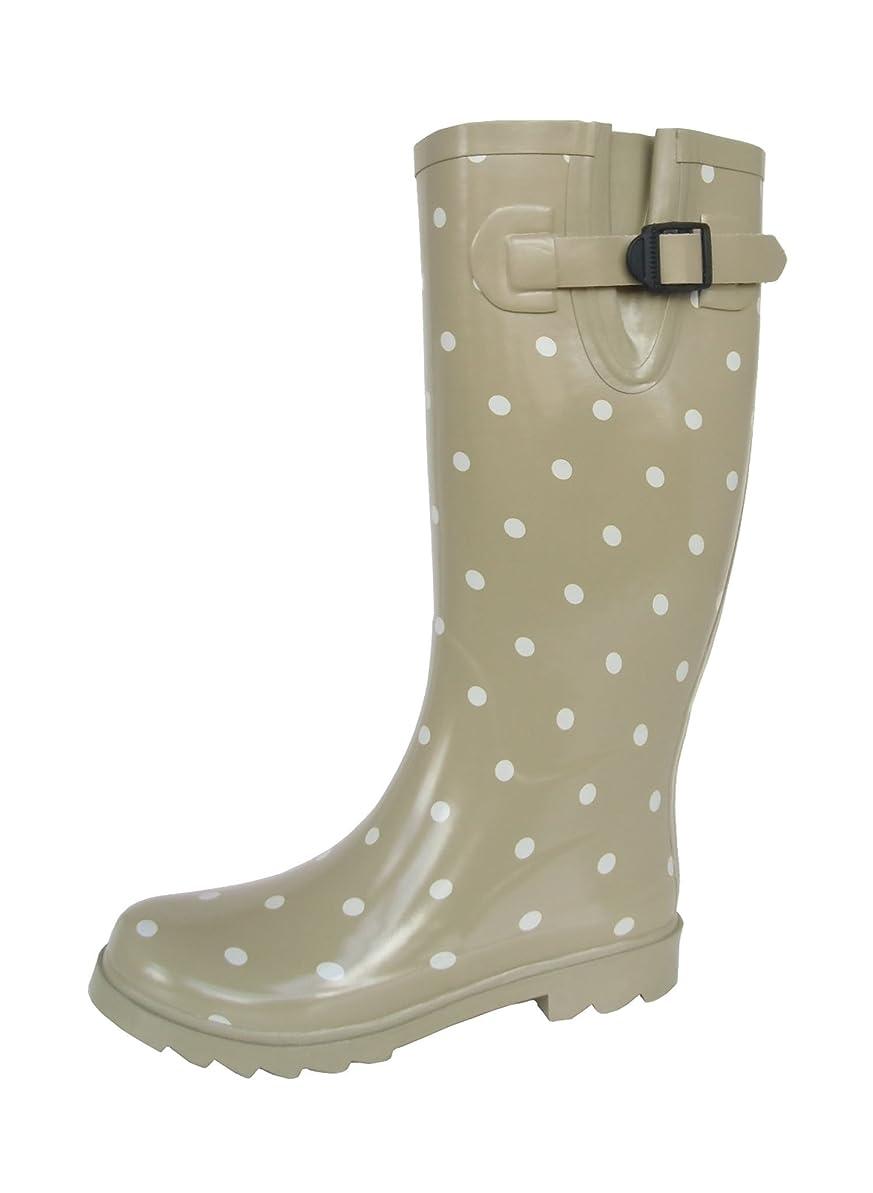 自動化緑男長靴 雨靴 防水 レインシューズ ベルト ドット 水玉 ロング ガーデニング アウトドア 通勤 2色 レディース