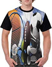 Mens Baseball Tee,Sports Decor Collection,Sports Equipment Football Soccer Darts Ice Hockey Baseball Basketball Image Print,Black Orange Blue S-XXL T-Shirt Casual Blouse