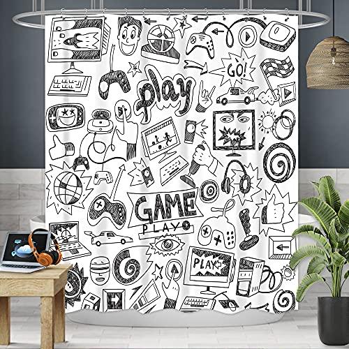 Riyidecor Kids Video Game Boys Shower Curtain 72W x 72H Black and White Sketch Funny Graffiti Cool Decor Fabric Panel Bathroom 12 Pack Plastic Shower Hooks RD-UCDQ