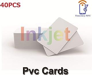 TimesKey Tarjetas de identificación de PVC imprimibles por inyección de tinta Funciona con impresoras de inyección de tinta Epson y Canon, CR80 30 MIL Material resistente al agua y gruesa(40 piezas)