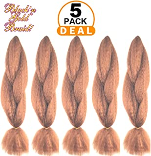 BNG Classic Braiding Hair 25 Inch 100% Kanekalon Jumbo Synthetic Bulk Braiding Hair Extensions for Goddess, Box Braids, Twists, Faux Locs, Crochet Braids 5 Pack (Color #30)