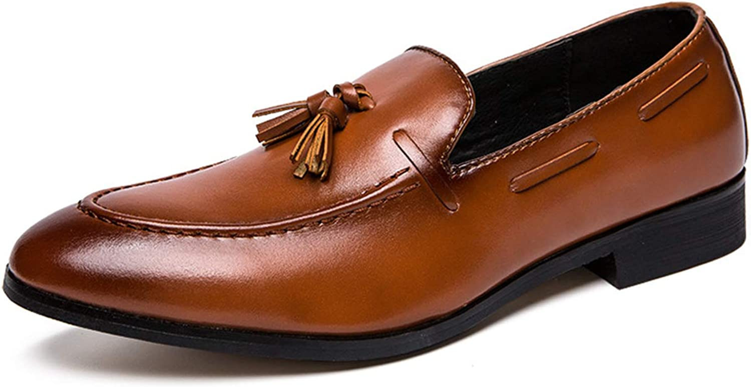 XWQYY Men's Leather shoes Summer Tassels British Fashion Business Casual shoes Wild Deodorant Men's shoes Tide shoes,Yellow-42EU