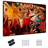 Projector Screen 84 inch, Taotique 4K Movie Projector Screen 16:9 HD Foldable and Portable Anti-Crease Indoor Outdoor Projection Double Sided Video Projector Screen for Home, Party, Office, Classroom