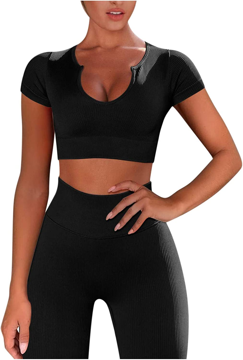 LauVery Workout Sets for Women, 2 Piece Seamless Ribbed Crop Tank High Waist Shorts Yoga Outfits