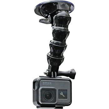 Flexible Gooseneck Extension Suction Cup Car Mount Holder with Phone Holder for GoPro Hero 8/7/6/5 Black,4 Session,4 Silver,3+,iPhone,Samsung Galaxy,Google Pixel and More
