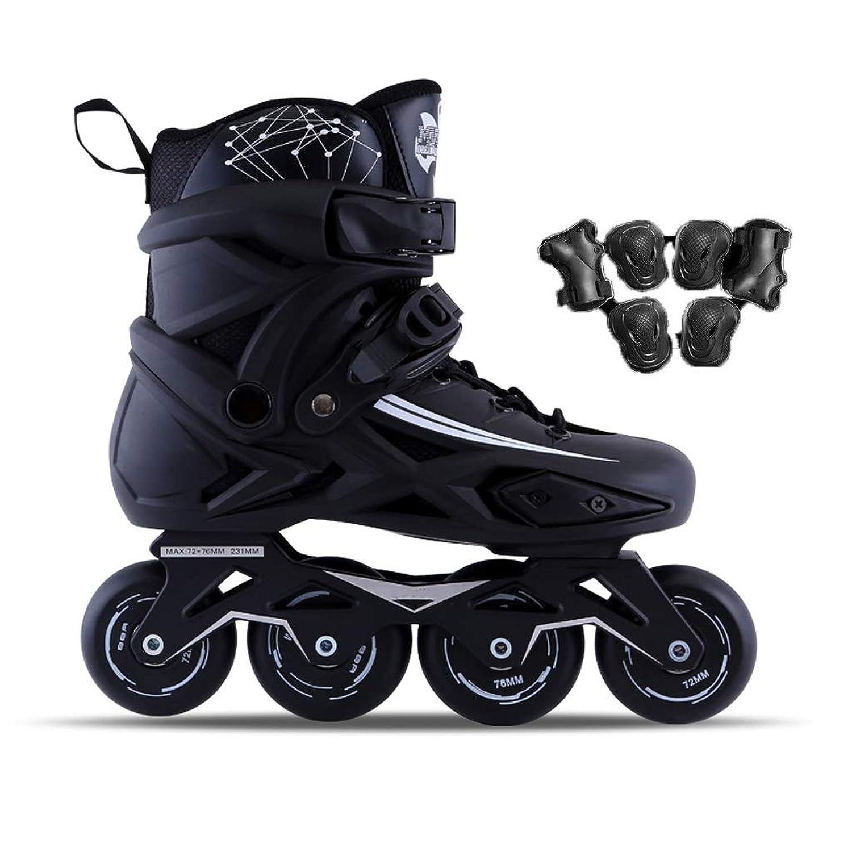 成人用ローラースケート、取り外し可能および洗える初心者向けインラインスケートフルフラッシュローラースケート黒、白 (Color : Black, Size : 36 EU/4.5 US/3.5 UK/23cm JP)