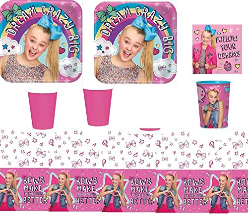 JoJo Siwa Party Supply Kit for 16 Guests - Plates, Cups, Napkins, Tablecover