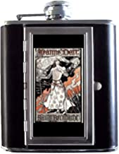 Sarah Bernhardt Joan of Arc 5oz Stainless Steel & Leather Hip Flask with Built-In Cigarette Case