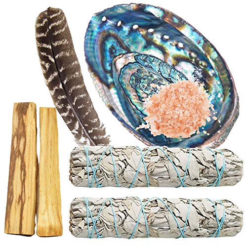 Afterglobe Beginners Sage Smudge Kit - White Sage Smudge Sticks, Palo Santo, Large Abalone Shell, Smudging Feather and cleansing Salt