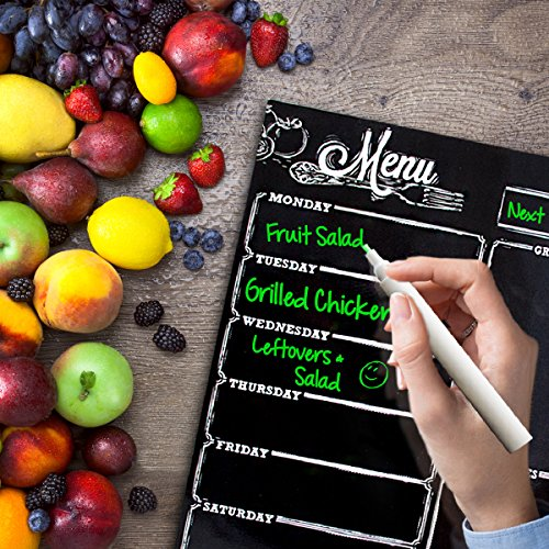 Menu Meal Planner Dry Erase Magnetic for Refrigerator. 3 Year Warranty - Monday Thru Saturday Chalkboard Style Photo #7