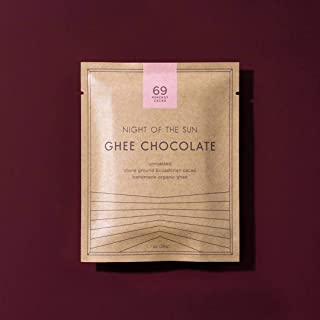 Organic Ghee Chocolate Bar made with 69% unroasted Cacao and Ancient Organics Ghee by Night of the Sun. 1 oz, Lactose - Casein - Gluten FREE, CCOF Certified Organic.