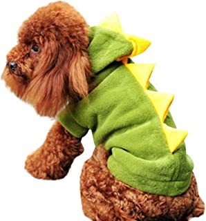 DORIC Pet Dog Puppy Winter Warm Hoodies Sweatshirt Dinosaur Patchwork Sweater Hooded Coat Apparel(XS-XL)