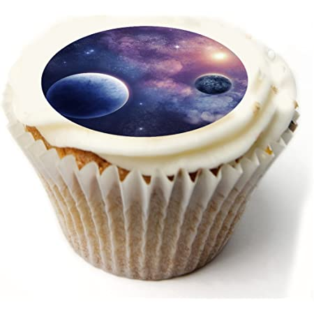 Space Planets Cupcake Toppers X20 Rice Paper Wafer Cup Cake Toppers Amazon Co Uk Kitchen Home