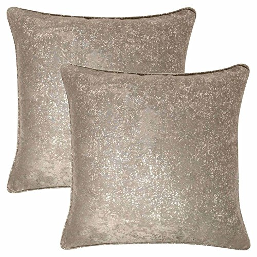 Maple Textiles Set of 2 Cream and Gold Luxurious Speckled Sparkle Cushion Covers 17' x 17'