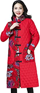 PPkloth Womens Long Plus Size Coats National Wind Button Collar Outwear Casual Cotton Jackets