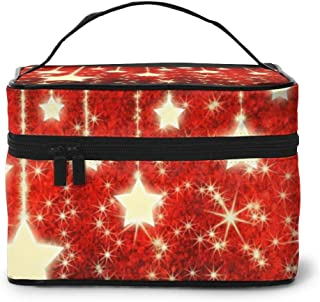 Make-Up Bags Golden Stars Pattern2 Professional Train Case Large Make-Up Box Cosmetic Toile Organizer Bags