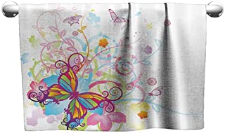 Mannwarehouse Butterflies Decorations Collection Beach and Pool House Towel Butterfly with Floral Elements and Leaves Stylized Curvy Branches Ornament Print W31 x L63 Multi