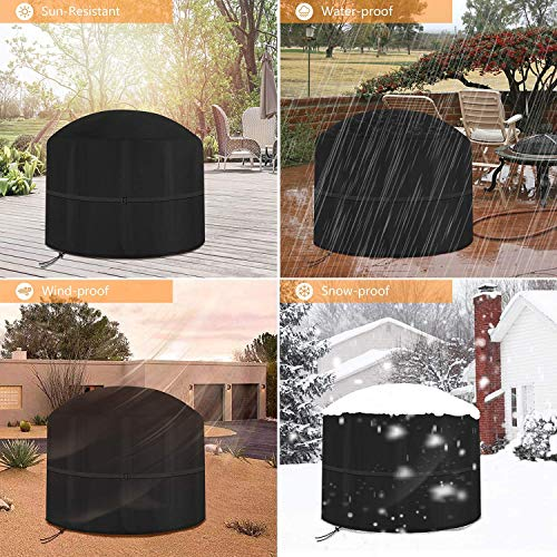 PREMIUM QUALITY Large-Fire-Pit-Cover,-Waterproof,-Windproof,-Anti-UV,-Heavy-Duty-Rip-Proof-600D-Oxford-Fabric-Outdoor-Garden-Patio-Heater-Cover,-Round-Black(fire pit cover/chiminea cover large)