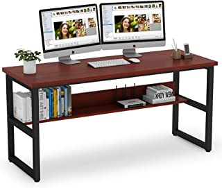 Tribesigns Computer Desk with Bookshelf Works as Office Desk Study Table Workstation for Home Office (63'', Cherry
