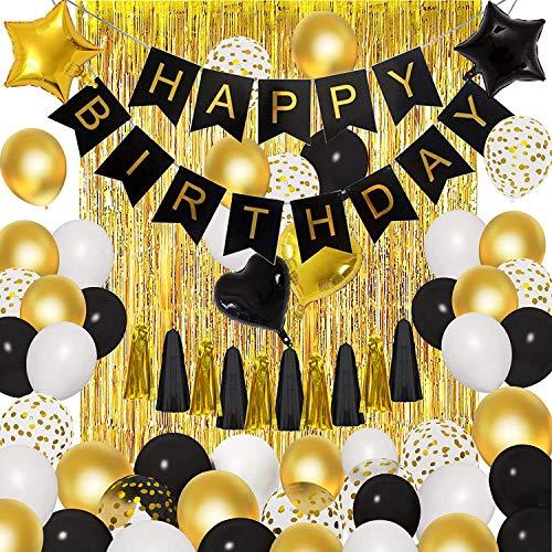 Ballons or Noir Décorations de Fête d'anniversaire Glands Rideaux à Franges Métalliques Latex or Ballons Confettis Métalliques Bannière de Joyeux Anniversaire pour Hommes et Femmes (44 Pièces)