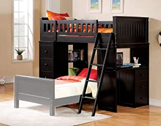 Acme Willoughby Twin Loft Bed with Desk in Black