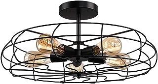 Lámpara de Techo Rústico Retro 5 x E27 LED Plafón Interior, Luz del Ventilador de Techo Negro Vintage Luz de Techo de Jaula de Hierro Forjado Iluminación para Salón Dormitorio Cocina Corredor