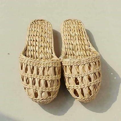 1 Pair Casual Natural Home Handmade Straw Rattan Shoes Flat Sandal Slipper