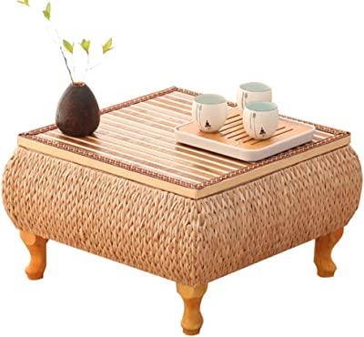 Table Solid Wood Tatami Bay Window Table Storage Small Coffee Table Window sill Low Table Balcony Table Tables (Color : Brown, Size : 60 * 60 * 30cm)
