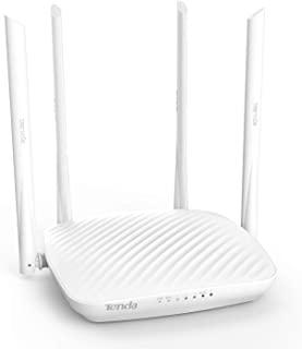 Tenda F9 600Mbps Wi-Fi Router with 4 * 6dBi Antennas, Easy Setup, Beamforming Technology, Guest Network, White