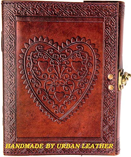 Urban Leather Book - Heart Journal - Brown Handmade Vintage Sketchbook Writing Notebook, Unlined