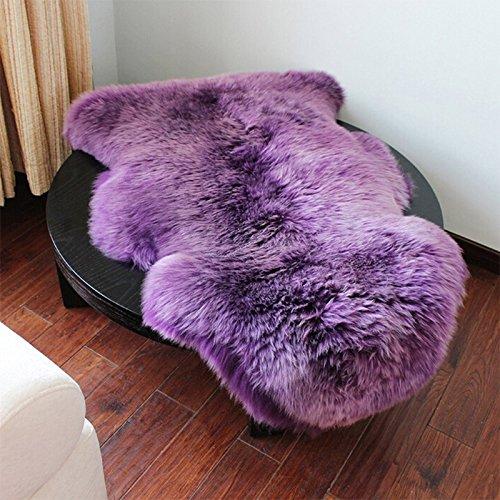 Kicode Für Wohnzimmer -Bett-Zimmer Weiß Faux-Schaffell (Lila)