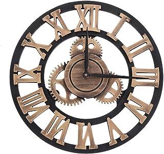 EBTOOLS Horloge Murale Pendule Murale Chiffres Romains 3D Roue Dentée Style Vintage Horloge Murale en Bois Industriel Deco...