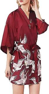 ZhixiaYS Women Simulation Silk Sleepwear Robe Bathrobe Bride Dressing Gown Nightwear