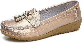 4d5140ab9b963 JRenok Chaussures de Printemps Femme Mocassins en Cuir Souple Casual Boucle  Confort Chaussures Plates Loafers Antidérapante