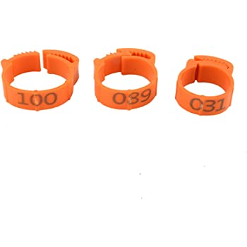 D-worthy 100pcs Multicolor Poultry Leg Bands Bird Chicken Hens Ducks Clip-on Leg Rings Chicken Tags for Leg 16mm Size