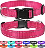 FunTags Reflective Nylon Dog Collar,Adjustable Pet Collars with Quick Release Buckle,12 Classic Solid Colors,4 Sizes,Hotpink,Large Size