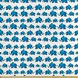 ABAKUHAUS Elefant Stoff als Meterware, Blaues Tier Kinder