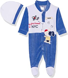 Papillon Stitched Detail Long Sleeves Snap Closure Bodysuit for Boys - Blue, 0-3 months