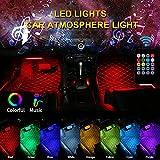4PCS 12 LED Car USB LED Strip Lights Multi Coloured Car LED Light Bar Car Interior Lights Footwell Decoration Atmosphere Light, Active Function,Multi-Mode Change (Remote Control)