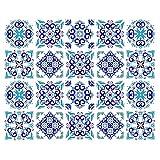 decalmile 20 Piezas Pegatinas de Azulejos 15x15cm Azul Vintage Marroquí Adhesivo Decorativo para Azulejos Cocina Baño Decoración