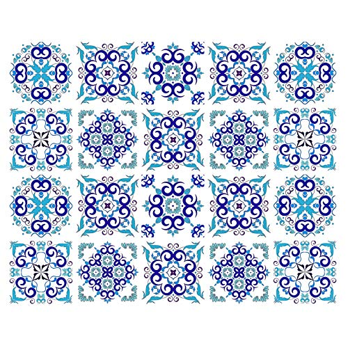 decalmile 20 Pcs Decorative Tile Stickers 6'X6' Blue Spanish Portuguese Peel and Stick Self Adhesive Tile Backsplash Vinyl Waterproof Kitchen Bathroom Furniture Stairs Home Decor (15X15cm)